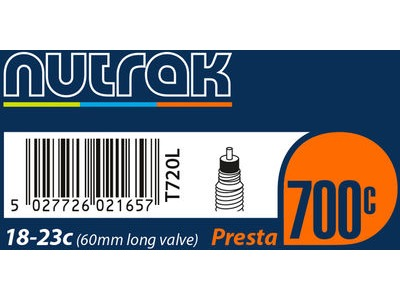 NUTRAK 700 x 19 - 25C Presta 60mm long valve inner tube