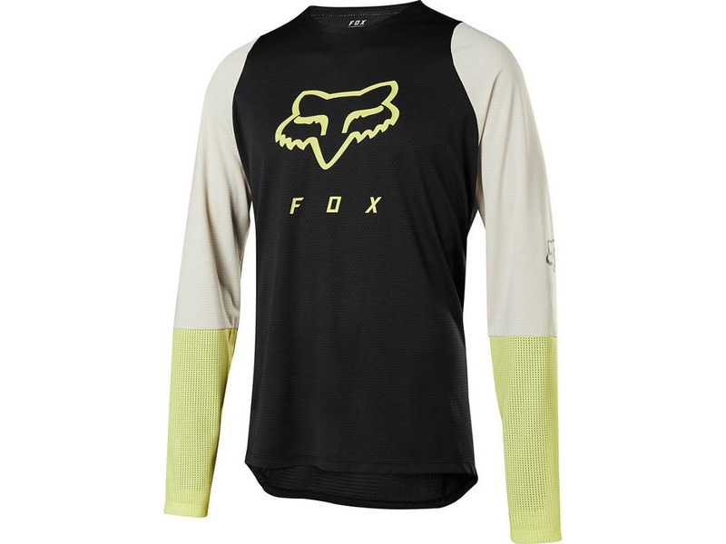 FOX CLOTHING Defend LS Foxhead Jersey Black/Yellow click to zoom image